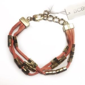 BCBGENERATION BRACELET LEATHER BOHO BEADED GOLD